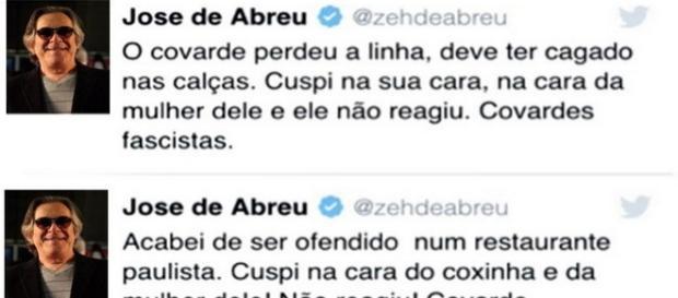 José de Abreu cospe na cara de casal em SP