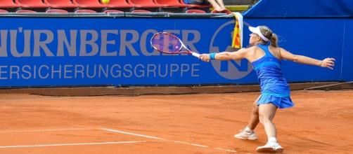 A. Kerber during a slide on clay back in 2014/ Photo: Michael Frey (Flickr) CC BY-SA 2.0