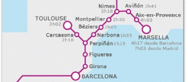 Itinerario del AVE y TGV Madrid-Barcelona-Paris.