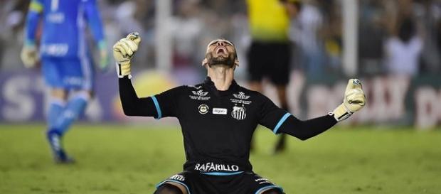 O goleiro Vanderlei comemorando a vitória do Santos sobe o Palmeiras