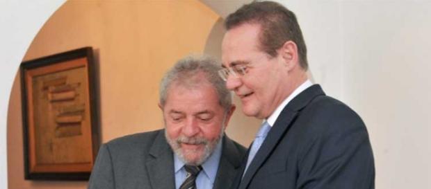 Lula e Renan Calheiros durante encontro