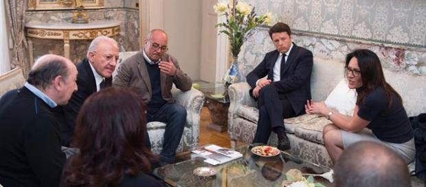 Summit di Matteo Renzi a Napoli