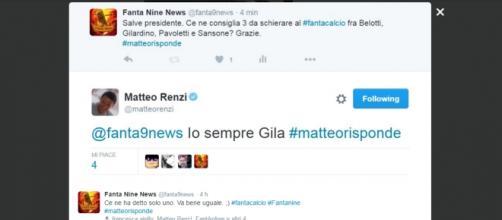 Screenshot del Tweet di Matteo Renzi.