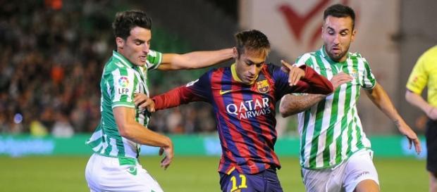 Neymar em ação frente ao Bétis
