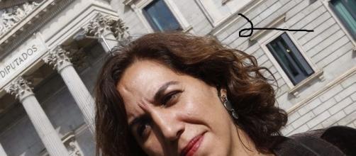 Irene Lozano en las puertas del Congreso.