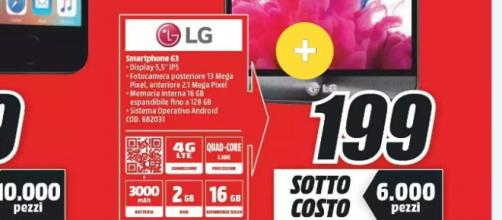 Sottocosto mediaworld Lg G3 in offerta a 199 euro