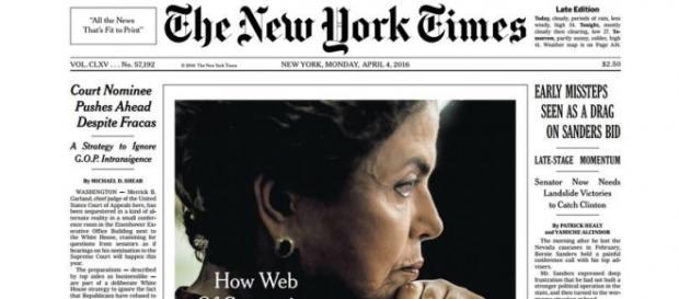 Capa do The New York Times dessa segunda-feira