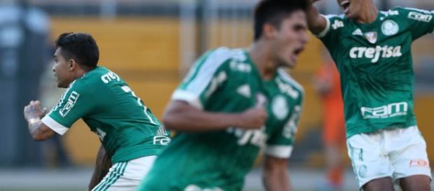 Dudu marca gol contra o Corinthians. Foto reprodução do Palmeiras