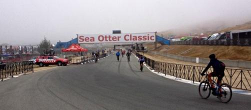 Cyclists finishing a race at the Sea Otter Classic
