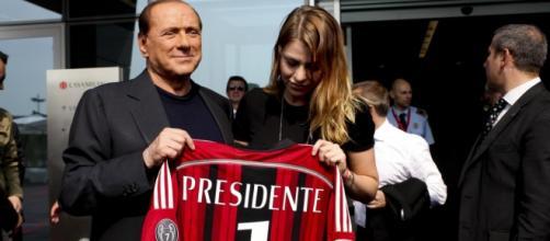 Il presidente del Milan, Silvio Berlusconi, insieme alla figlia Barbara