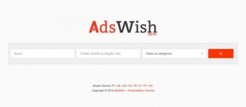 O site AdsWish na sua uma versão em português