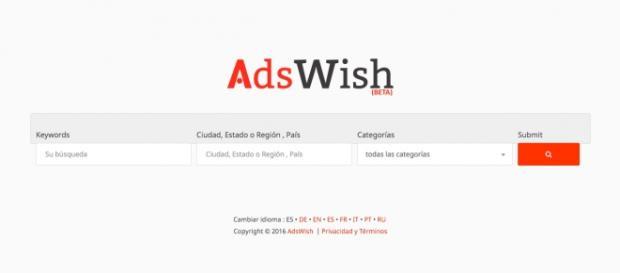 AdsWish, el nuevo buscador de anuncios clasificados, ahora también en español.
