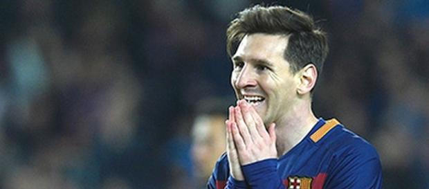 Messi en una acción del partido