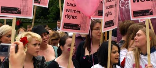 A group of women protest during a pro-choice demonstration in Oxford. Source: Flickr