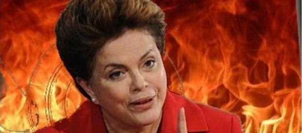 Dilma Rousseff no fogo - Foto/Reprodução