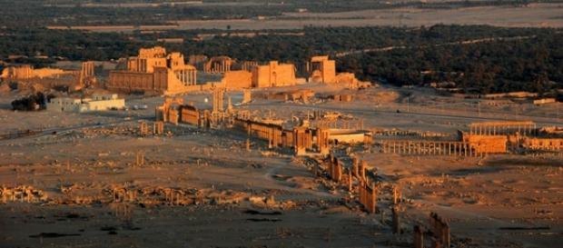 Vista panorâmica do sítio arqueológico de Palmira