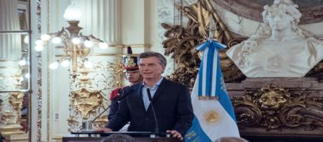 Presidente, Mauricio Macri, durante su discurso.