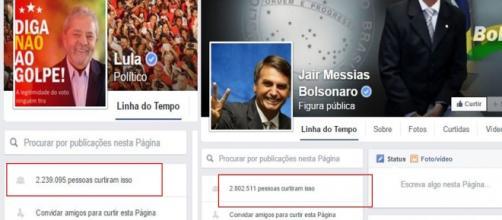 Jair possui mais de meio milhão de seguidores a mais que Lula