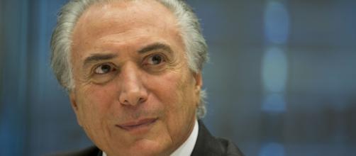 Michel Temer, vice-presidente da República, participa de ato de sindicalistas contrários ao Governo.