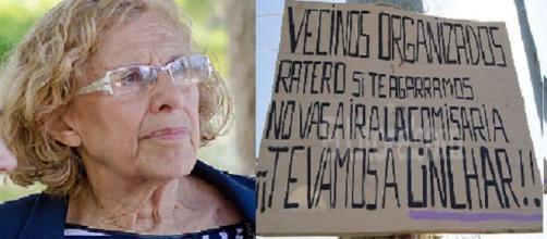 Manuela Carmena y un cartel ciudadano