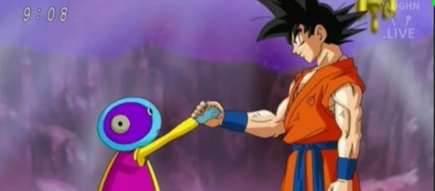 Gokú dándole la mano a Zeno-sama