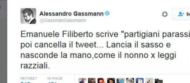 Il tweet di Gassmann contro Emanuele Filiberto
