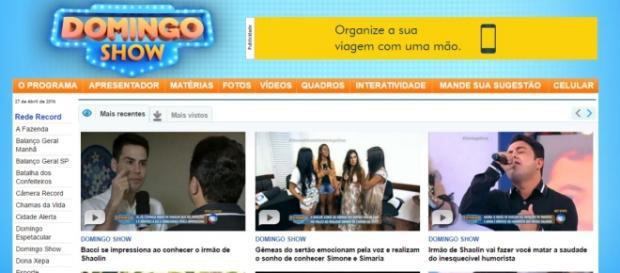 Site da TV Record - Foto/Reprodução