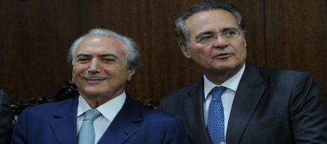 O vice-presidente Michel Temer e o presidente do Senado, Renan Calheiros
