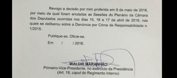 Decisão de Waldir Maranhão revogando o próprio ato do início do dia