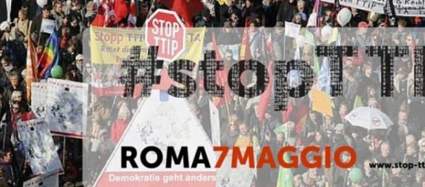Manifestazione a Roma del 7 maggio Stop TTIP. Fonte: http://www.aiablazio.it/blog/roma-7-maggio-manifestazione-nazionale-stop-ttip