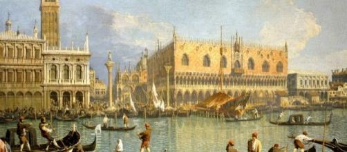 """Canaletto, """"Il molo, il Palazzo Ducale e il campanile di San Marco""""."""