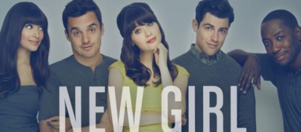 #NewGirl cast: Hannah Simone / Jake Johnson / Zooey Deschanel / Max Greenfield / Lamorne Morris