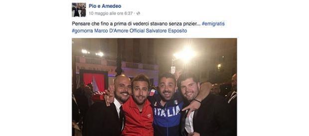Pio e Amedeo con Marco D'Amore e Salvatore Esposito