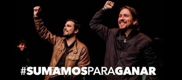 Alberto Garzón y Pablo Iglesias. Twitter @iunida