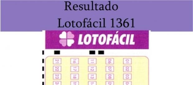 Resultado do jogo da Lotofácil 1361