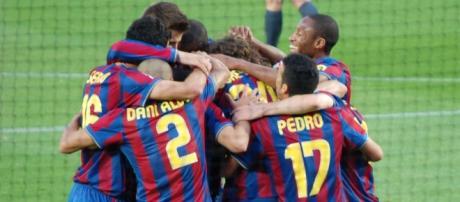 El FC Barcelona celebrando un Liga en un partido contra el Valladolid