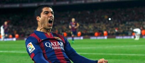 Luis Suárez celebrando un gol en el Camp Nou