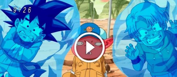 Dragon Ball Super Capítulo 43 la aparición de Arale y la poderosa Pan. Monaka rapta a Trunks y Goten accidentalmente.