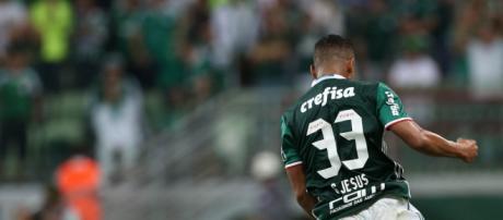 Gabriel Jesus comemora gol do Palmeiras no Allianz Parque. Foto de César Greco, reprodução Palmeiras