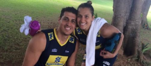 O casal Dani Lins e Sidão: unidos em casa e na seleção