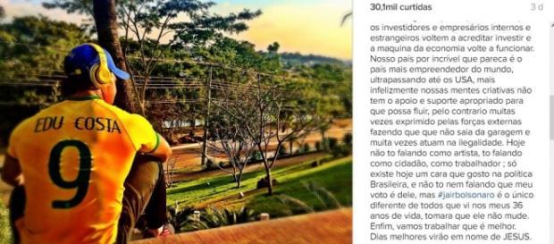 Eduardo não ficou encima do muro, criticou a crise e elogiou Jair Bolsonaro