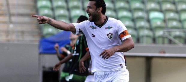 Fred vibrando após gol sobre o América/MG (Fonte: Nelson Perez / Divulgação FFC)