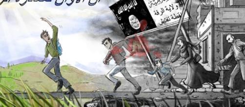 Panfletos distribuidos en Raqqa
