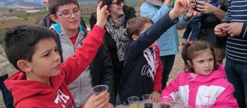 Pequeños turistas del vino en bodegas David Moreno