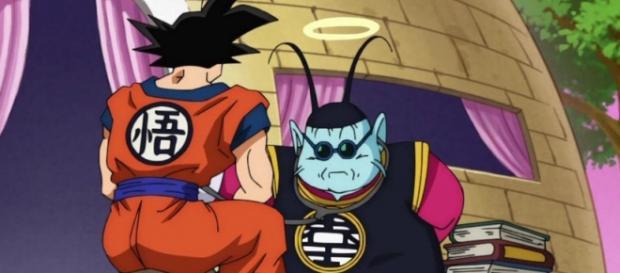 Goku siendo revisado por el kaio-sama después de presentar síntomas muy extraños como falta de apetito, descontrol en sus tecnicas y habilidades.