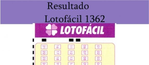 Resultado do jogo da Lotofácil 1362