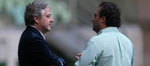 Presidente Paulo Nobre e Alexandre Mattos, diretor de futebol (Foto: Cesar Greco/Ag Palmeiras)
