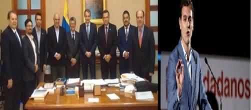 Momento en el cual estaban reunidos los representantes de la MUD con el mediador Zapatero