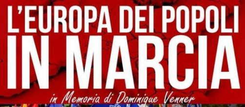 Il manifesto della manifestazione dell'estrema destra europea prevista per il 21 maggio