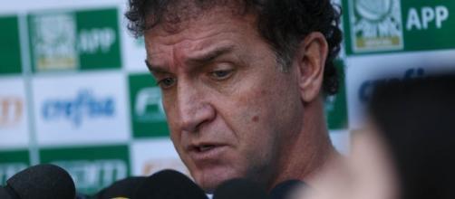 Técnico Cuca concede entrevista na Academia de Futebol (Foto: Cesar Greco/Ag Palmeiras/Divulgação)